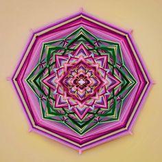 Lotus yarn mandala  Ojo de Dios 20 inches 51 cm by JivaMandalas