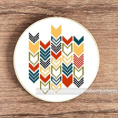 Modern cross stitch - Counted cross stitch pattern PDF - Geometric - Chevron via Etsy