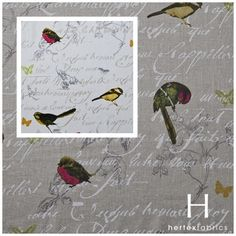 Design Robin will have you chirping this Spring.  www.hertex.co.za Fig, Upholstery, Ottomans, Spring, Creative, Illustration, Robin, Fabrics, Decorating Ideas