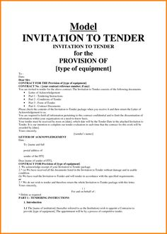 Example Of Tender Document  Quote Templates  Lexar F