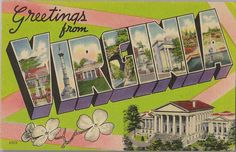 This vintage greetings from linen postcard, circa 1940s, features various landmarks around the state of Virginia.