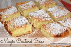 MAGIC CUSTARD CAKE Ingredients: 4 eggs (whites separated from yolks), room temp 1 tsp vanilla extract cup sugar 1 stick butter, cup all purpose flour 2 cups milk lukewarm powdered sugar for dusting cake Just Desserts, Delicious Desserts, Yummy Food, Sweet Recipes, Cake Recipes, Dessert Recipes, Simply Recipes, Yummy Recipes, Custard Recipes