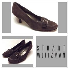 Stuart Weitzman  Brown Suede Heels  Size 8W Stuart  Weitzman chocolate brown suede heels. Women's size 8w, Kitten heel, hardly worn, cute buckle detail. See pics, and ask questions. These are premium heels and would upgrade any business suit, or outfit.  Stuart Weitzman shoes retail anywhere from $400 on up so you are being offered an amazing deal! Stuart Weitzman Shoes Heels