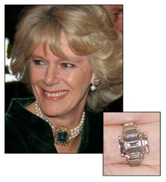 After his divorce from Diana, Prince Charles gave Camilla, the Duchess of Cornwall, a lovely platinum Art Deco engagement ring believed to have been owned by the Queen Mother and a welsh gold wedding band.