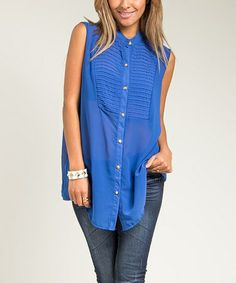 Another great find on #zulily! Blue Sleeveless Button-Up Top - Women & Plus #zulilyfinds