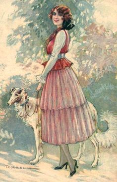 Corbella, Tito (b,1885)- Borzoi Walking w Woman, II {Duplicate Variation Below- other has much more color bleeding}
