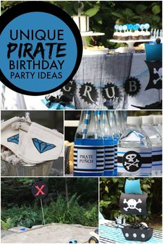 Boy's Blue Pirate Birthday Party Ideas