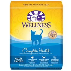 Wellness Complete Health Natural Dry Cat Food Deboned Chicken & Rice Recipe is healthy natural cat food for adult cats made with carefully chosen authentic ingredients for everyday health and prov...