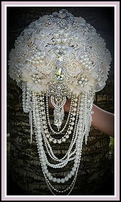 CASCADING JEWELED BOUQUET- Deposit for Elegant Ivory Cascading Vintage Inspired Jeweled Brooch Bouquet, Cascading Bouquet, full price 565