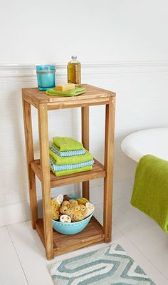 Built-in storage can feel like a luxury, but an airy shelf can corral towels, bath oils, and other soothing essentials in a cinch. This one, from Signature Hardware, will cost you about $200. Or you can follow our step-by-step guide for how to build your own.