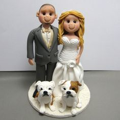 Custom Wedding Cake Topper With Two English Bulldogs Handmade By Clayinaroundetsy