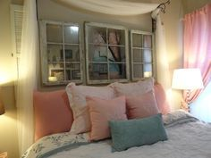 don't know so much about the bedding, but LOVE the rustic mirrors and the curtains