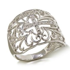 Michael Anthony Jewelry® Crystal Cross Filigree Sterling Silver Ring