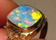 Mens Opal Ring 14k Gold Wide Band Opal rings Bright and Ring