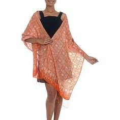 NOVICA Silk Shawl with Tangerine Geometric Motifs from Indonesia ($38) ❤ liked on Polyvore featuring accessories, scarves, clothing & accessories, orange, shawls, pure silk scarves, silk shawl, batik scarves, floral print scarves and orange shawl