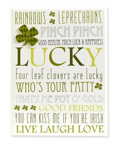 Another great find on #zulily! White 'Lucky' Wall Plaque #zulilyfinds