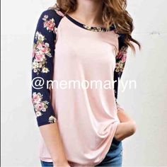 Long sleeve T Powder pink with contrasting floral sleeve. The sleeve is below the elbow but not all the way to the wrist. Can be worn summer and winter . Very soft  Tops Tees - Long Sleeve