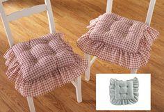 Superieur Country Plaid Check Ruffled Kitchen Chair Cushion Set