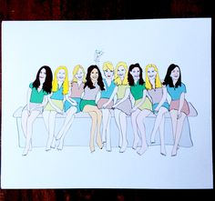Custom illustrated print of a group of girls