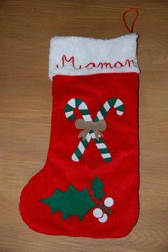 chaussette de Noël sucre d'orge et houx en feutrine brodée