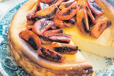 Baked ricotta cheesecake with tamarillos recipe, Bite – Nadia Lim Ricotta Cheesecake, No Bake Cheesecake, Baked Ricotta, Cake Tins, How Sweet Eats, Fruit Recipes, A Food, Food Processor Recipes, Sweet Treats