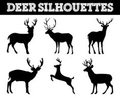 Reindeer, Deer, Animal Silhouettes // Animals Silhouette // Commerical Use Clipart // Deer Silhouettes