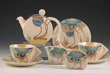 Clarice Cliff Pottery, Aurea Bonjour tea for two set