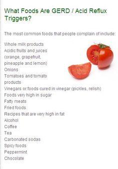 What foods are Gerd/LPR/Acid Reflux triggers?