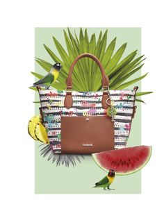 This bag has nautical stripes, pastel print details and brown faux-leather straps and pockets. It's a visual delight!