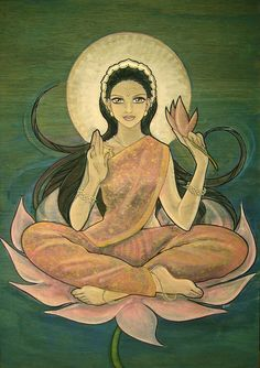 Music Therapy Relaxing Goddess Lakshmi, patron of wealth and good fortune, sits on a fully bloomed pink lotus as Her divin Indian Goddess, Goddess Art, Goddess Lakshmi, Indiana, Art Tribal, Sacred Feminine, Divine Feminine, Hindu Deities, Hindu Art