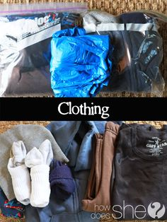72-hour-packs I like that for clothes she suggests long sleeved shirts and sweat pants.  You can always cut clothes for warmer weather.  The sweat pant fit a child longer than regular pants.