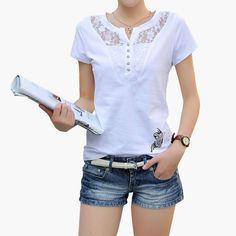 Women T-Shirts V-Neck Summer Slim Short Sleeve Cotton Lace Plus Size Tops Blouse