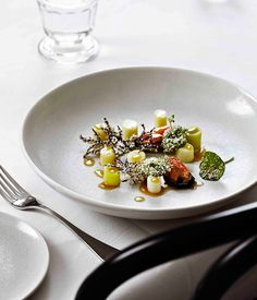 Steamed leeks, burnt butter and almonds, mussels :: Gourmet Traveller Magazine Mobile