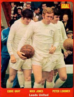 Eddie Gray, Mick Jones and Peter Lorimer of Leeds Utd in Mick Jones, Leeds United, Peacocks, 1970s, Wrestling, The Unit, Football, Memories, Gray