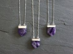 Amethyst Crystal plated in silver, on a custom length Sterling Silver chain. Select from two chain designs. Great necklace to layer with other pieces or wear alone.