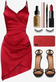 College Party Outfits Ideas That are Not Basic - Inspired Beauty red satin dress Dressy Outfits, Mode Outfits, Night Outfits, Chic Outfits, Party Outfits, Teen Outfits, Fashionable Outfits, Inspired Outfits, College Outfits