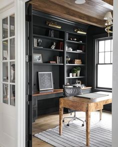 Office Built Ins, Study Office, Man Office, Home Office Design, Home Office Decor, Home Decor, Masculine Office Decor, Masculine Home Offices, Office Furniture
