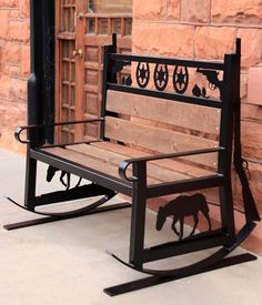 May 2015 - Western style metal rocking bench. you can make your own metal bench designs with a PlasmaCAM cutting machine. Yard Furniture, Metal Furniture, Furniture Plans, Furniture Makeover, Chair Makeover, Industrial Furniture, Welding Crafts, Welding Projects, Welding Tips