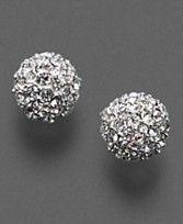 Monet Pave Crystal Ball Earrings