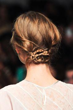 low braided bun idea for super fine hair.