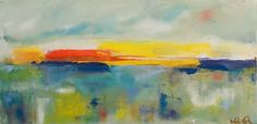 Colorful Abstract Seascape Landscape Rainbow by lindadonohue, $195.00
