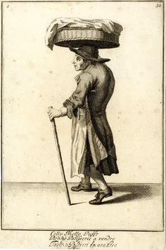"""""""Colly molly puff"""" a seller of pastries, walking to right with a basket covered with cloth on his head, and walking stick in left hand; from late series of the Cries of London, the plate worn.  1688, re-published after c.1750 Etching and engraving"""