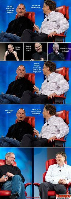 Steve Jobs vs  Bill Gates funny image