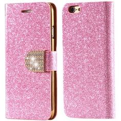 For iPhone 5S Leather Case Gold Luxury Shiny Diamond Gold Stand Flip Case For iPhone 5 5S SE Wallet Card Slot Cover Bling Powder