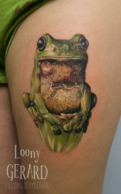By @loonygerard, Poland Frog Tattoo, realistic, girl
