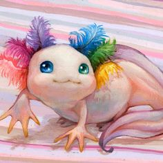 """This little cutie is called """"Pinkie Pie"""" and is part of my Surreal Safari collection for San Diego Comic Con I love axolotl, I wish. Cute Animal Drawings, Kawaii Drawings, Cute Creatures, Mythical Creatures, Cute Fantasy Creatures, Wallpaper Gamer, Axolotl Cute, Manga Coloring Book, Posca Art"""