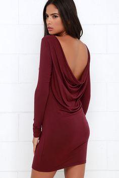 Right Back Atcha' Burgundy Long Sleeve Dress