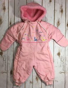 Vintage 1960s Pink Infant Baby Girl One Piece Snowsuit Deer Embroidery Pastel | eBay
