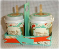 Nancy's Mini Cups decorated with Perfect Blend and Retro Fresh dsp. All supplies except cups from Stampin' Up!