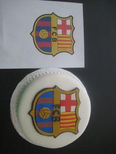 Barcelona Fc Soccer Cake Made for a friend's boyfriend. Logo is 100% Fondant